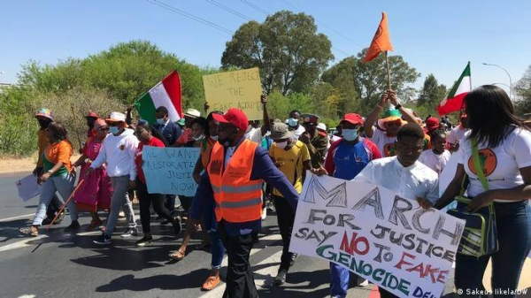 Protesters led by the opposition and traditional leaders march through the capital Windhoek.
