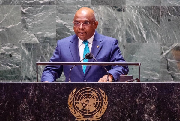 UN General Assembly President Abdulla Shahid addresses the general debate of the UN General Assembly's 76th session. — courtesy UN Photo/Cia Pak