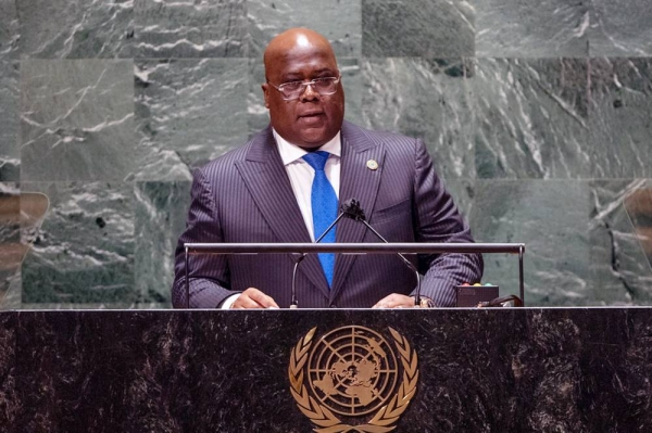 President Félix-Antoine Tshisekedi Tshilombo of the Democratic Republic of the Congo addresses the general debate of the UN General Assembly's 76th session. — courtesy UN Photo/Cia Pak