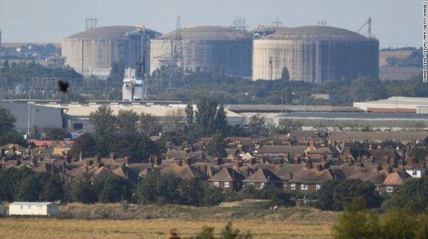 Storage tanks of liquified natural gas are seen at an import terminal in southeast England on Sept. 21.