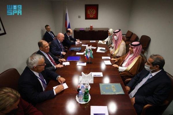 Foreign Minister Prince Faisal Bin Farhan met with Russian counterpart Sergei Lavrov, on the sidelines of the 76th session of the United Nations General Assembly in New York on Thursday.