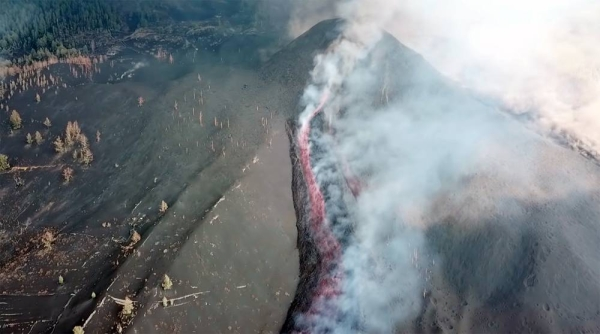 An ash cloud from an erupting volcano has caused the closure of the airport on La Palma in Spain's Canary Islands. Cumbre Vieja began exploding a week ago and has forced 7,000 people to evacuate their homes.
