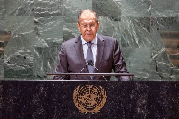Sergey V. Lavrov, Minister for Foreign Affairs of the Russian Federation, addresses the general debate of the UN General Assembly's 76th session. — courtesy UN Photo/Cia Pak
