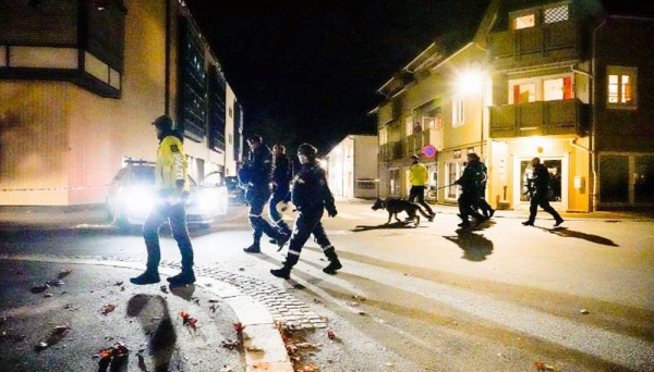 Police at the scene after an attack in Kongsberg, Norway, Wednesday. — courtesy CNN