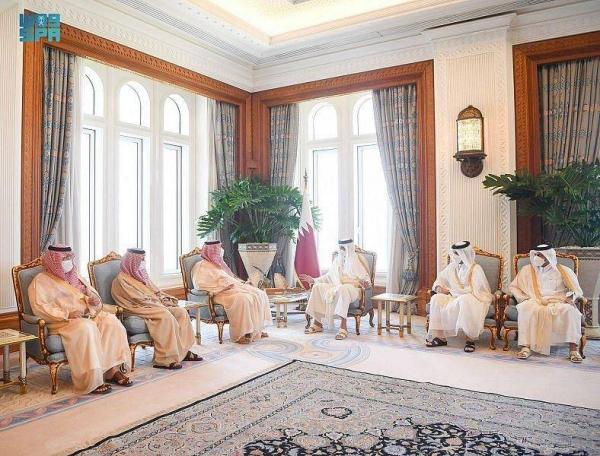 Emir of Qatar Sheikh Tamim bin Hamad Al Thani receives Prince Turki bin Mohammed bin Fahd bin Abdulaziz at his office in Doha on Thursday.