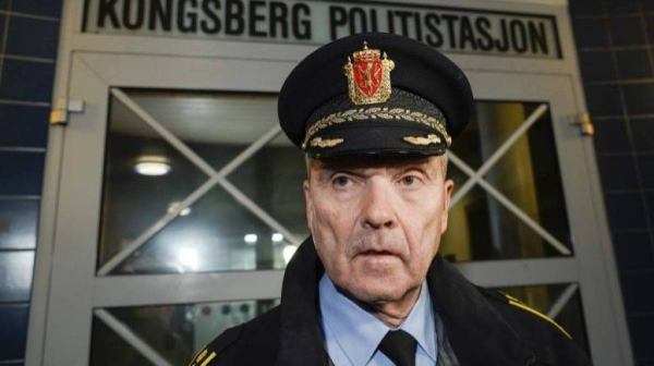 Police chief Oeyvind Aas speaks to the media after several people were killed by a man using a bow and arrow,