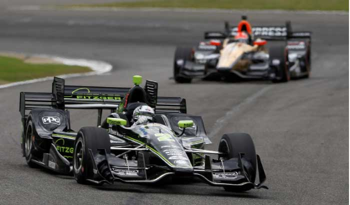 Josef Newgarden heads into a turn during the Indy Grand Prix of Alabama auto race, Sunday, in Birmingham, Ala. — AP